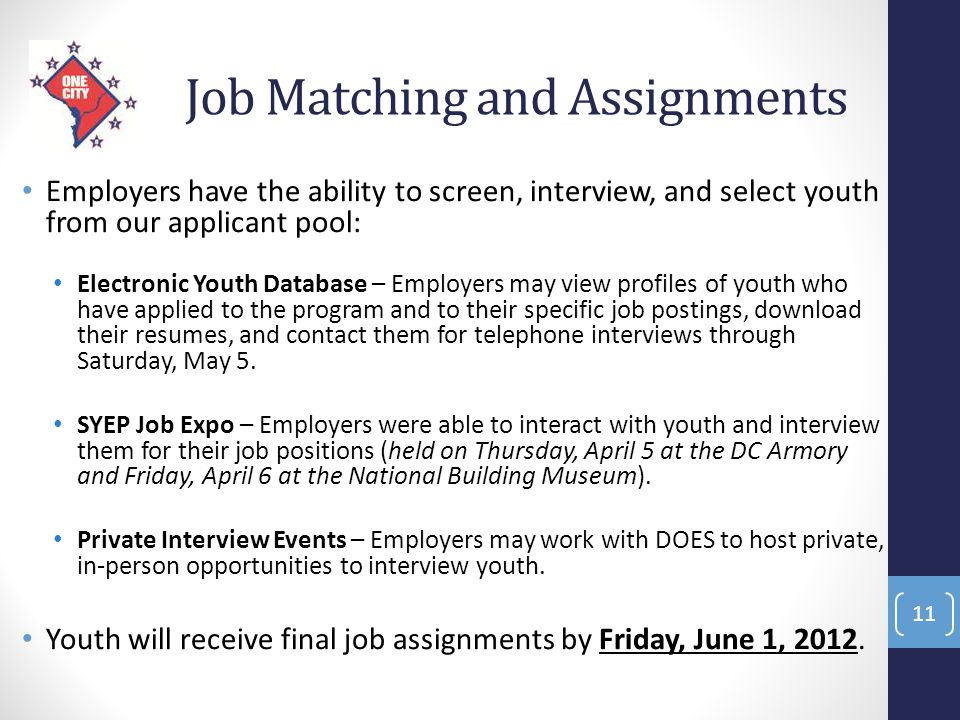 Job Matching and Assignments Employers have the ability to screen, interview, and select youth from our applicant pool: Electronic Youth Database – Em
