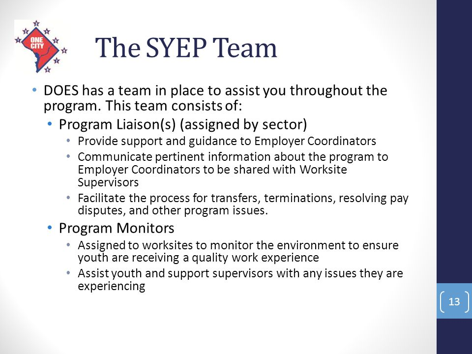 The SYEP Team DOES has a team in place to assist you throughout the program. This team consists of: Program Liaison(s) (assigned by sector) Provide su