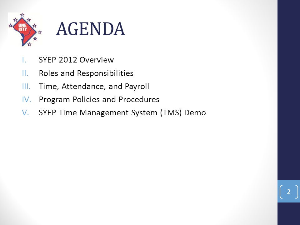 AGENDA I.SYEP 2012 Overview II.Roles and Responsibilities III.Time, Attendance, and Payroll IV.Program Policies and Procedures V.SYEP Time Management