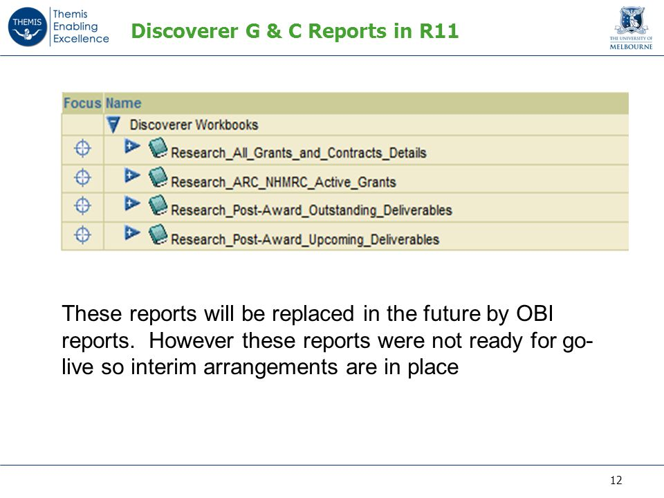 Discoverer G & C Reports in R11 These reports will be replaced in the future by OBI reports.