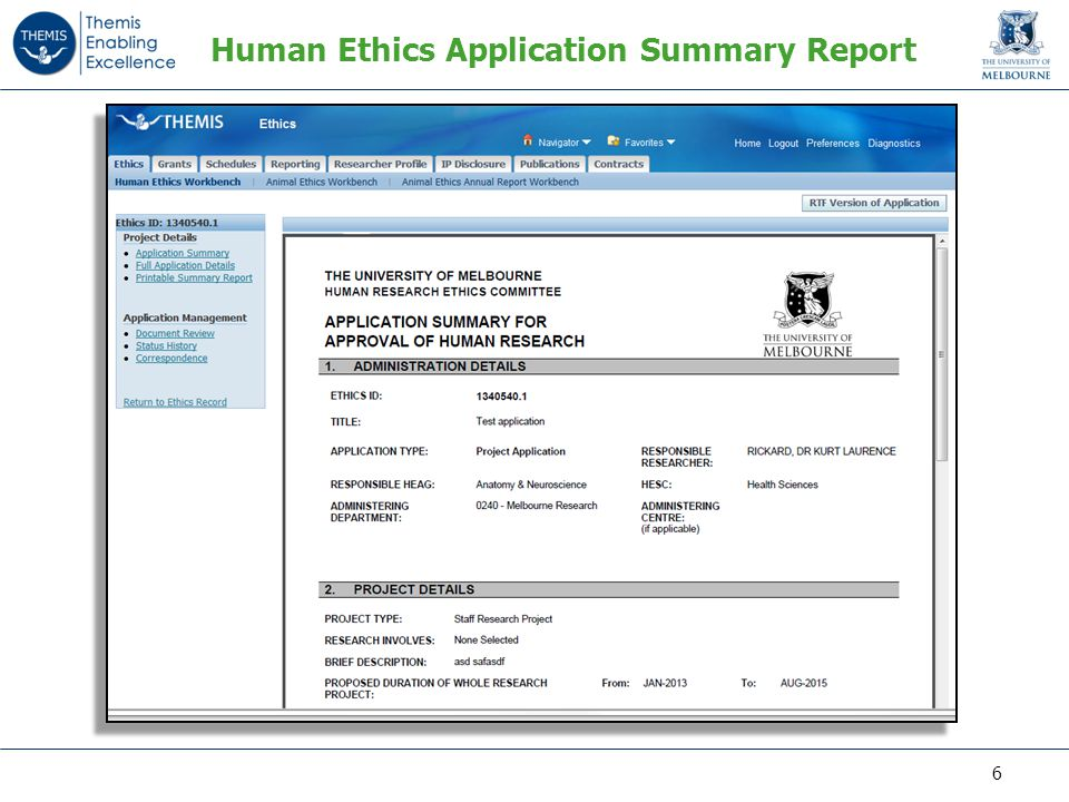 Human Ethics Application Summary Report 6