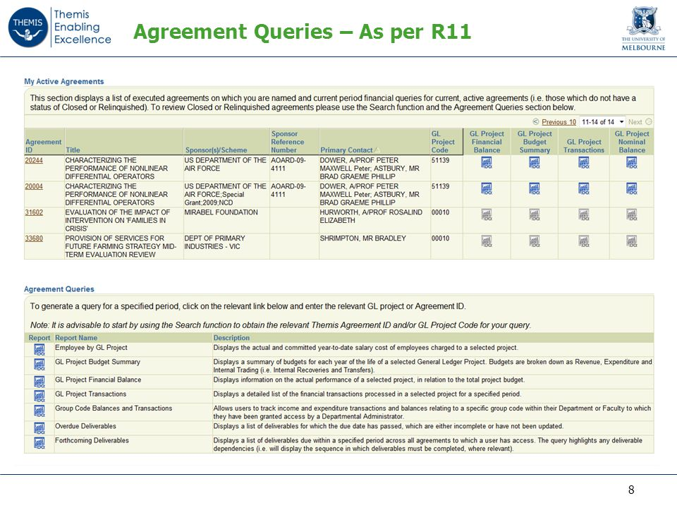Agreement Queries – As per R11 8