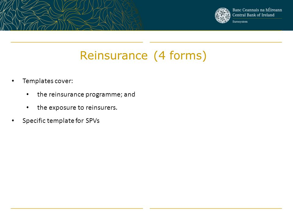 Templates cover: the reinsurance programme; and the exposure to reinsurers. Specific template for SPVs Reinsurance (4 forms)