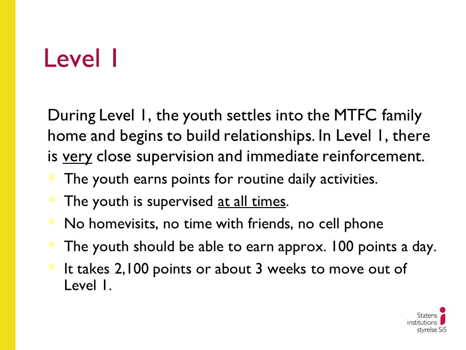 Level 1 During Level 1, the youth settles into the MTFC family home and begins to build relationships. In Level 1, there is very close supervision and