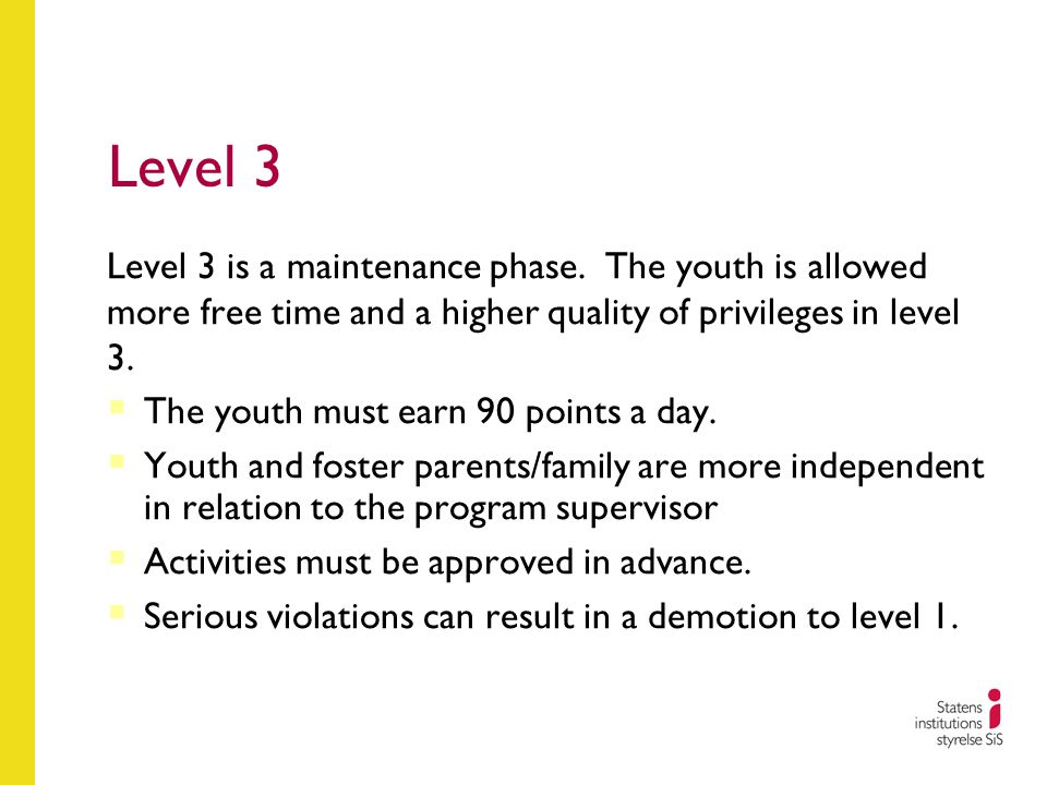 Level 3 Level 3 is a maintenance phase. The youth is allowed more free time and a higher quality of privileges in level 3.  The youth must earn 90 po