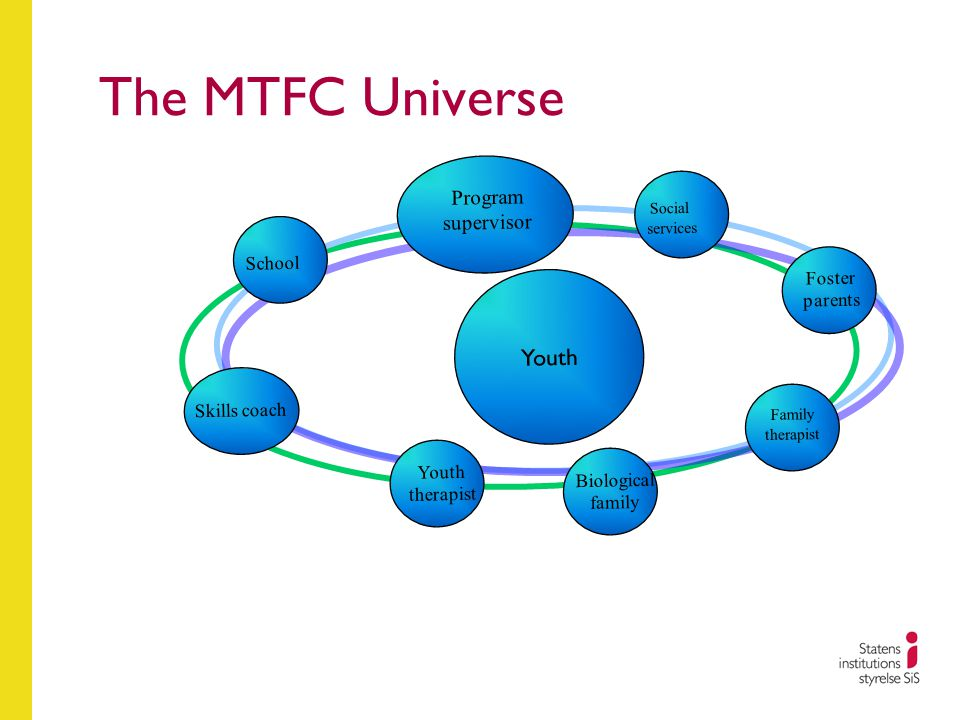 The MTFC Universe School Foster parents Social services Youth therapist Biological family Family therapist Youth Program supervisor Skills coach