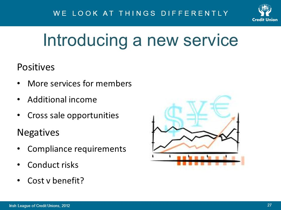 Irish League of Credit Unions, 2012 W E L O O K A T T H I N G S D I F F E R E N T L Y 27 Introducing a new service Positives More services for members Additional income Cross sale opportunities Negatives Compliance requirements Conduct risks Cost v benefit