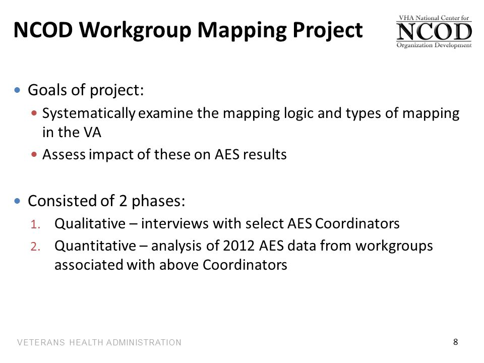VETERANS HEALTH ADMINISTRATION NCOD Workgroup Mapping Project Goals of project: Systematically examine the mapping logic and types of mapping in the VA Assess impact of these on AES results Consisted of 2 phases: 1.