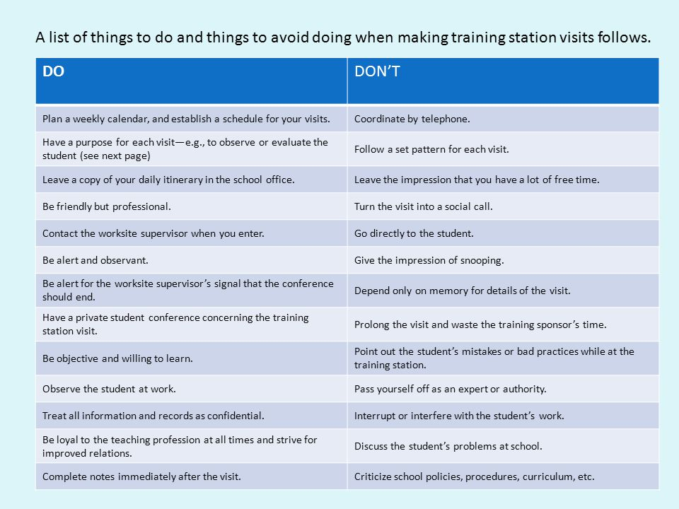 A list of things to do and things to avoid doing when making training station visits follows.
