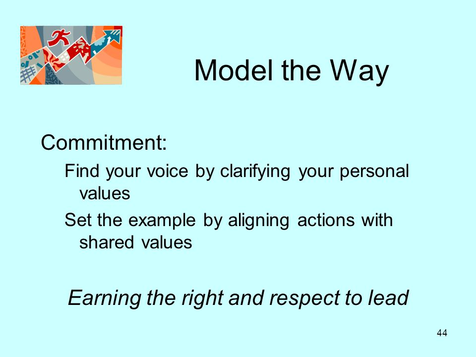 44 Model the Way Commitment: Find your voice by clarifying your personal values Set the example by aligning actions with shared values Earning the rig