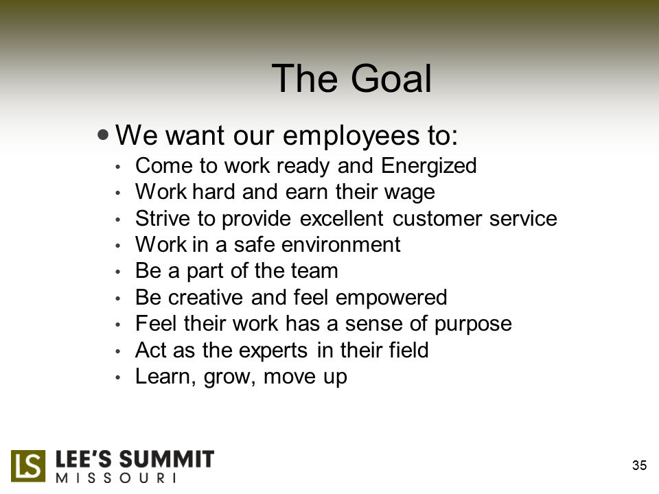 The Goal We want our employees to: Come to work ready and Energized Work hard and earn their wage Strive to provide excellent customer service Work in a safe environment Be a part of the team Be creative and feel empowered Feel their work has a sense of purpose Act as the experts in their field Learn, grow, move up 35