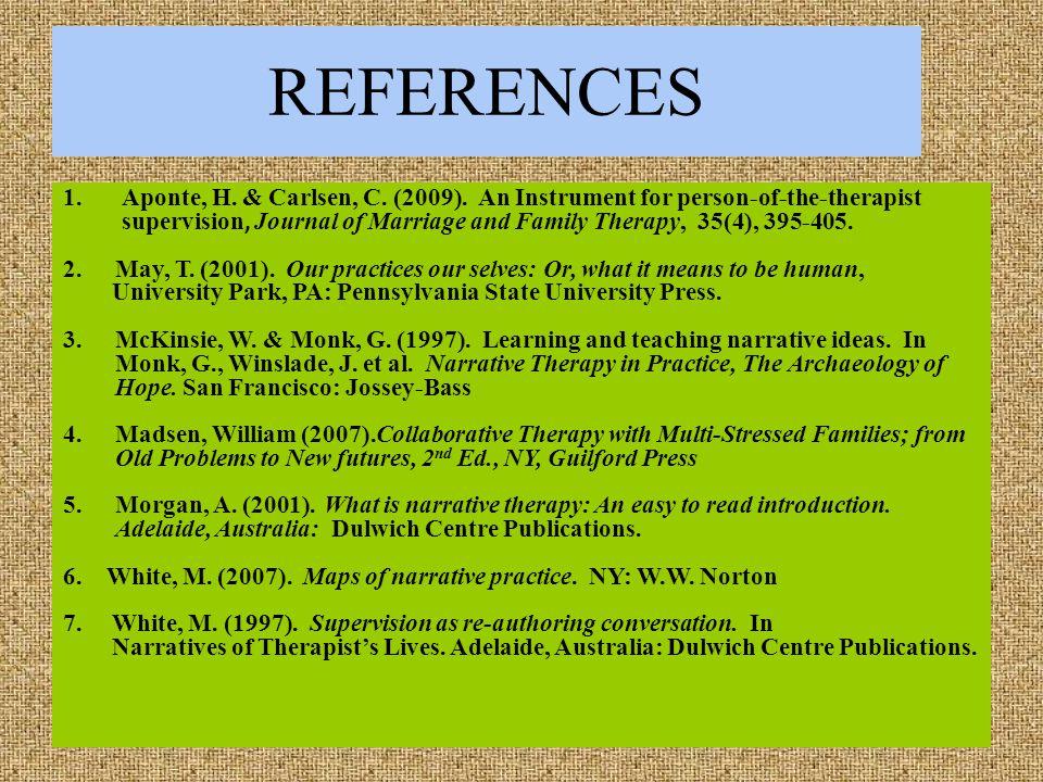 REFERENCES 1.Aponte, H. & Carlsen, C. (2009).