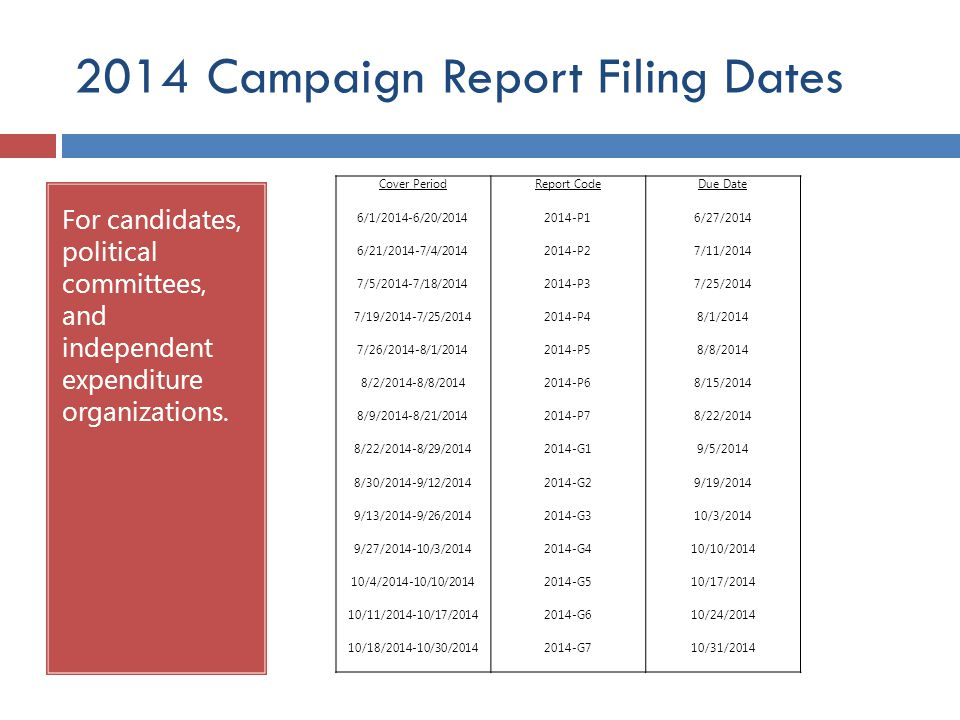 2014 Campaign Report Filing Dates For candidates, political committees, and independent expenditure organizations. Cover Period 6/1/2014-6/20/2014 6/2