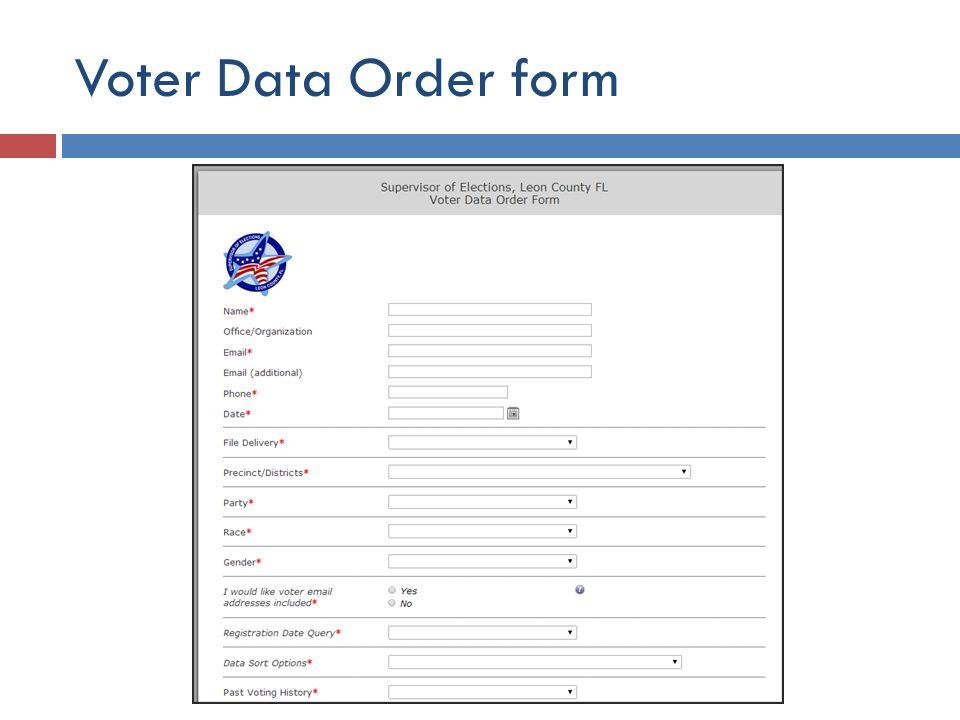 Voter Data Order form