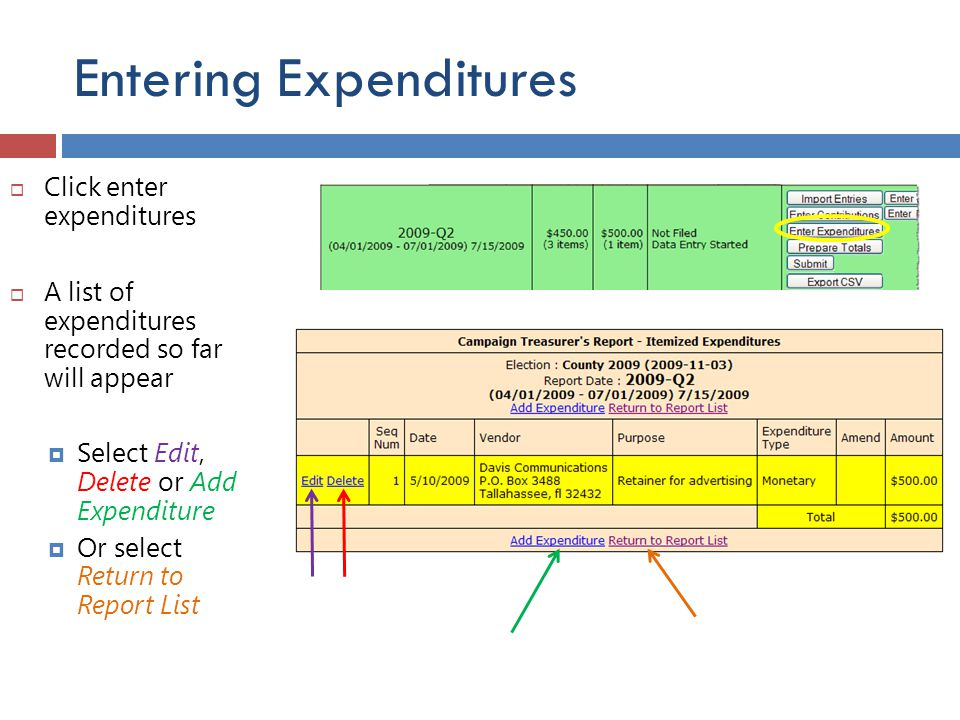 Entering Expenditures  Click enter expenditures  A list of expenditures recorded so far will appear  Select Edit, Delete or Add Expenditure  Or se