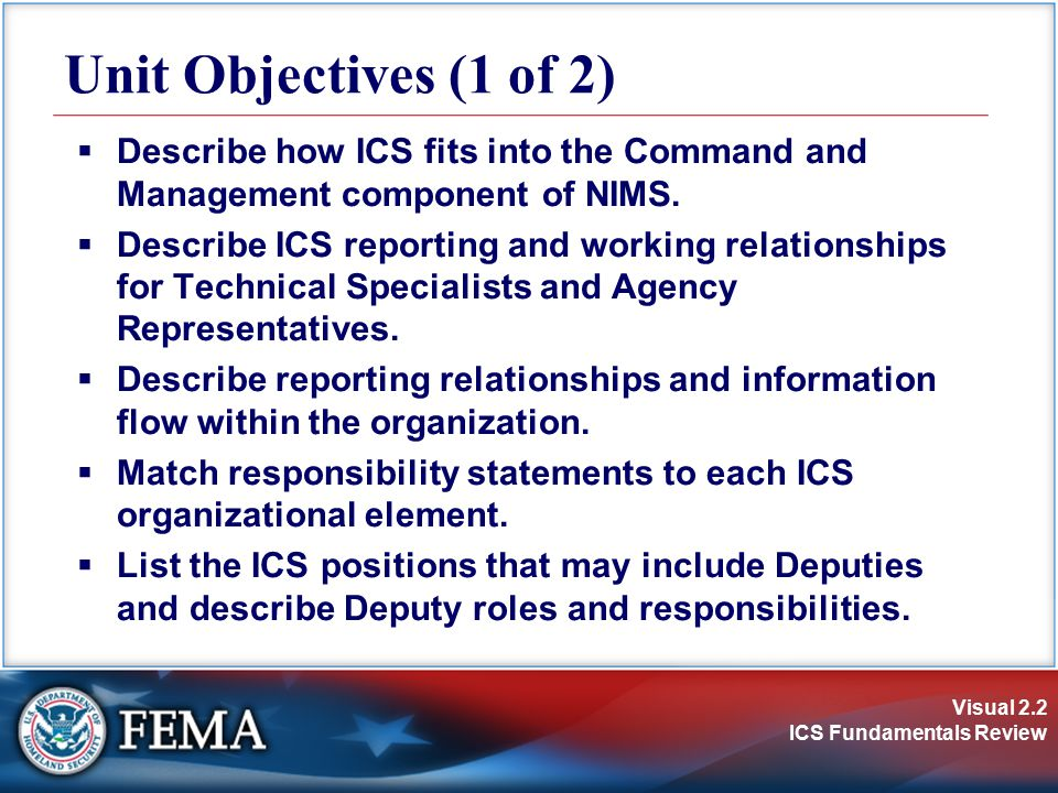 Visual 2.3 ICS Fundamentals Review Unit Objectives (2 of 2)  Describe differences between Deputies and Assistants.