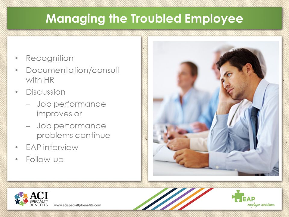 Managing the Troubled Employee Recognition Documentation/consult with HR Discussion  Job performance improves or  Job performance problems continue