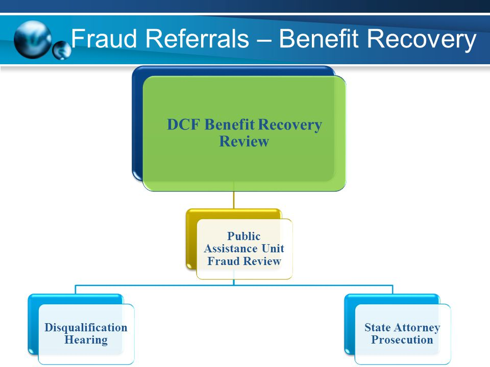 Fraud Referrals – Benefit Recovery DCF Benefit Recovery Review Public Assistance Unit Fraud Review Disqualification Hearing State Attorney Prosecution