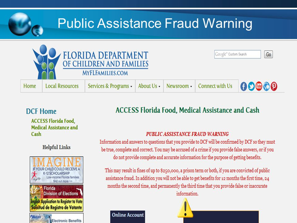 Public Assistance Fraud Warning
