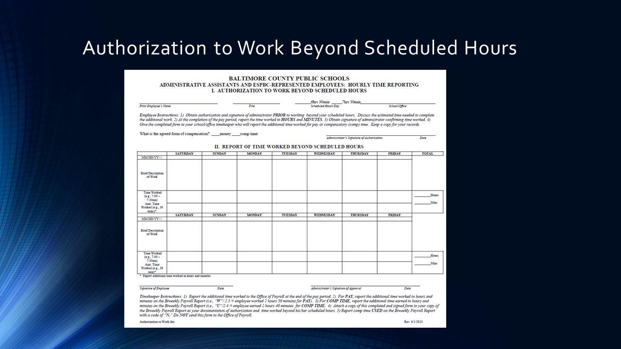 Authorization to Work Beyond Scheduled Hours