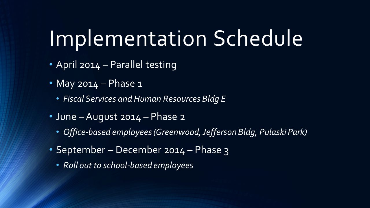 Implementation Schedule April 2014 – Parallel testing May 2014 – Phase 1 Fiscal Services and Human Resources Bldg E June – August 2014 – Phase 2 Offic
