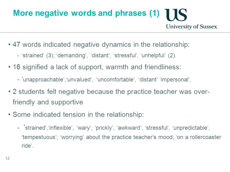 More negative words and phrases (1) 47 words indicated negative dynamics in the relationship: -'strained' (3); 'demanding', 'distant', 'stressful', 'unhelpful' (2).