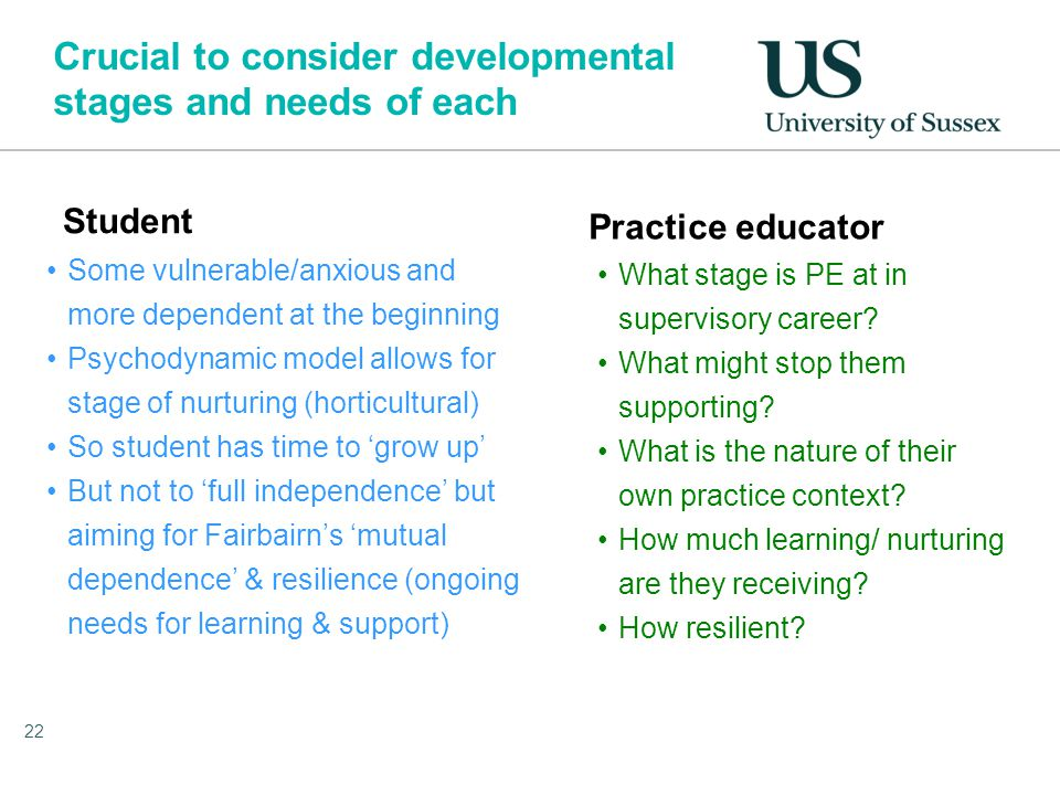Crucial to consider developmental stages and needs of each Student Some vulnerable/anxious and more dependent at the beginning Psychodynamic model allows for stage of nurturing (horticultural) So student has time to 'grow up' But not to 'full independence' but aiming for Fairbairn's 'mutual dependence' & resilience (ongoing needs for learning & support) Practice educator What stage is PE at in supervisory career.