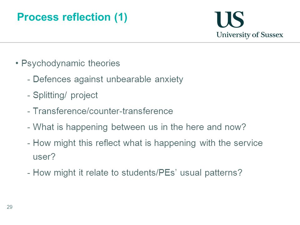 Process reflection (1) Psychodynamic theories -Defences against unbearable anxiety -Splitting/ project -Transference/counter-transference -What is happening between us in the here and now.