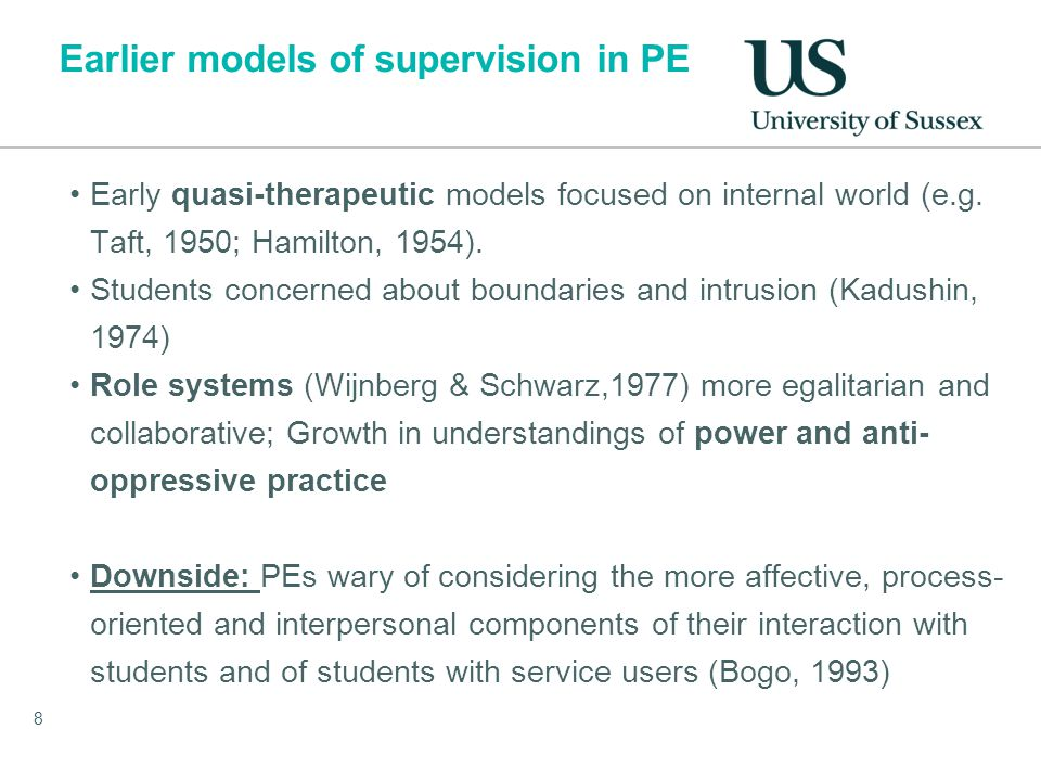 Earlier models of supervision in PE Early quasi-therapeutic models focused on internal world (e.g.