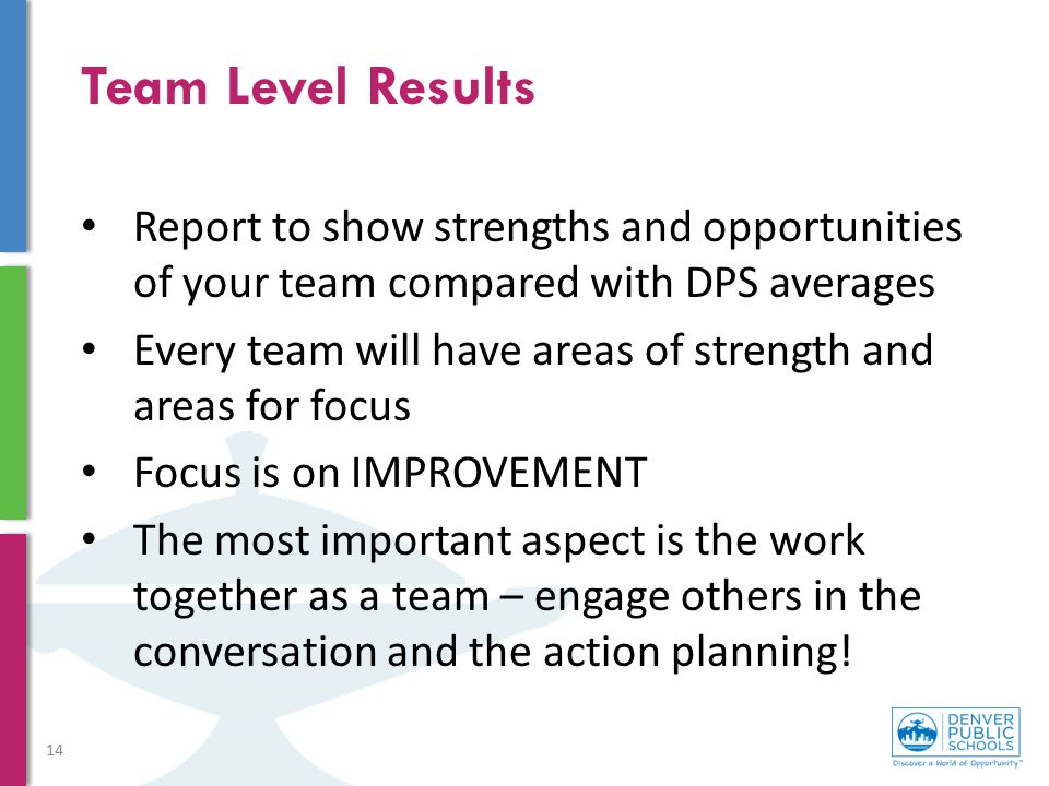 Team Level Results Report to show strengths and opportunities of your team compared with DPS averages Every team will have areas of strength and areas