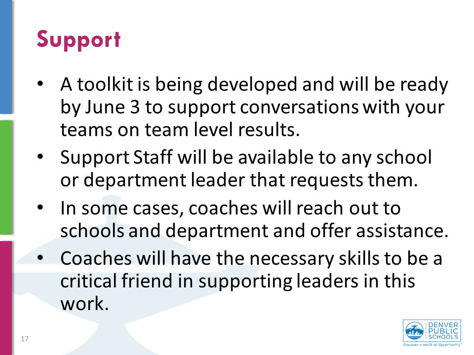 Support A toolkit is being developed and will be ready by June 3 to support conversations with your teams on team level results. Support Staff will be