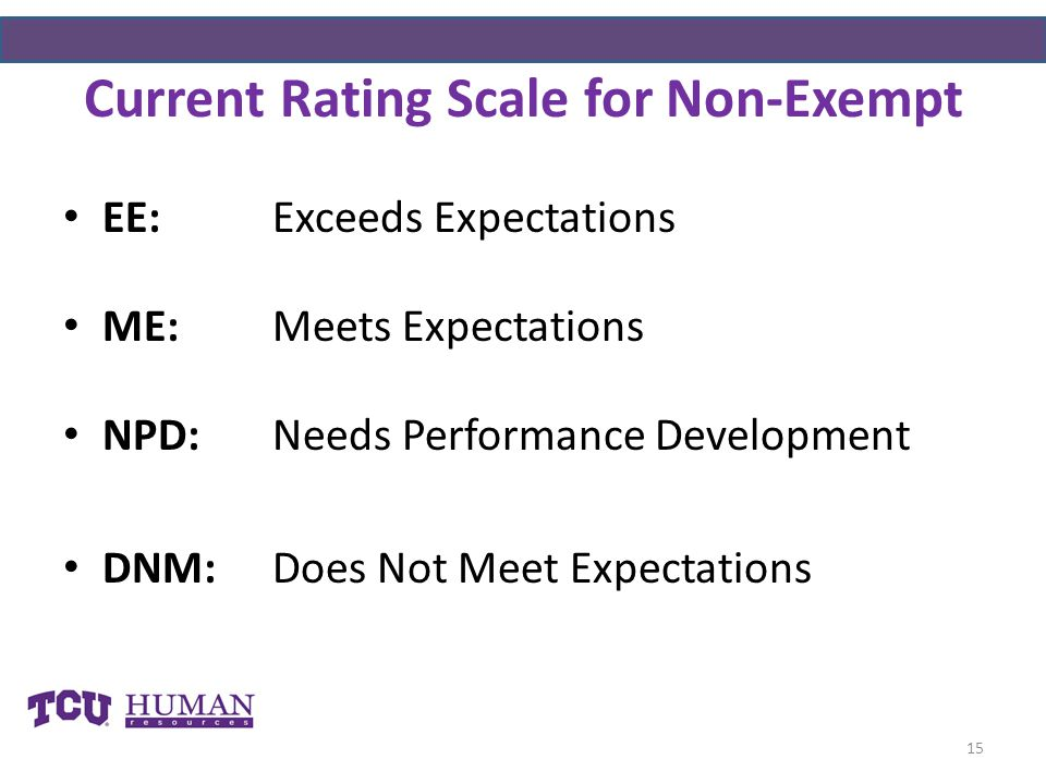 Current Rating Scale for Non-Exempt EE:Exceeds Expectations ME:Meets Expectations NPD:Needs Performance Development DNM:Does Not Meet Expectations 15