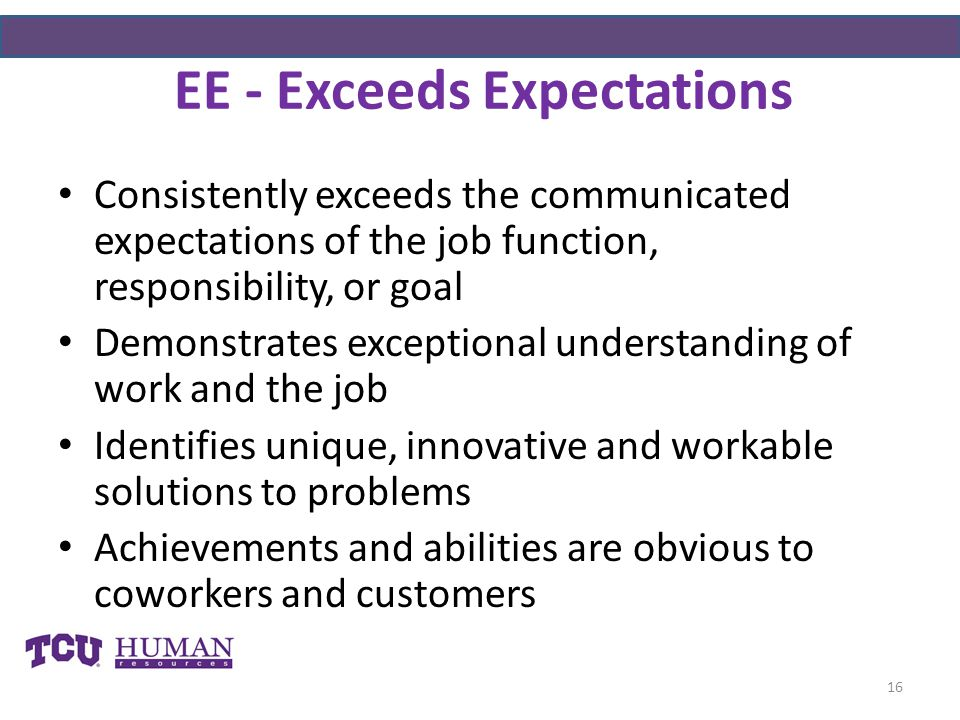 EE - Exceeds Expectations Consistently exceeds the communicated expectations of the job function, responsibility, or goal Demonstrates exceptional understanding of work and the job Identifies unique, innovative and workable solutions to problems Achievements and abilities are obvious to coworkers and customers 16