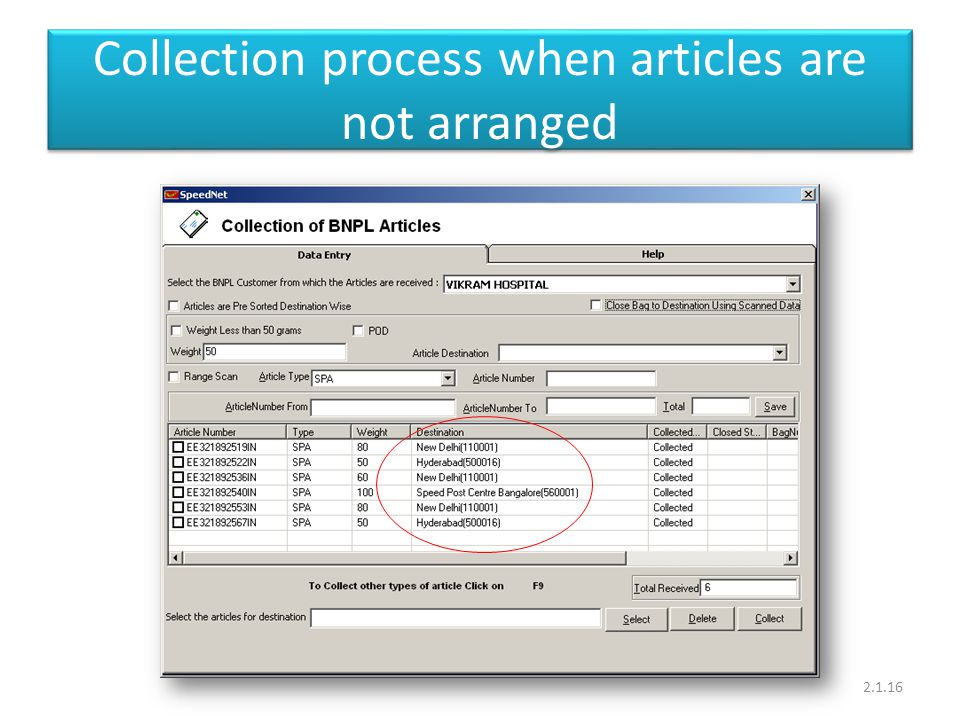 Collection process when articles are not arranged 2.1.16