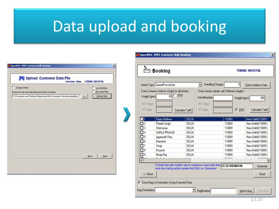 Data upload and booking 2.1.23