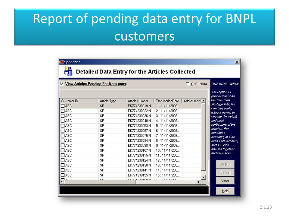 Report of pending data entry for BNPL customers 2.1.28