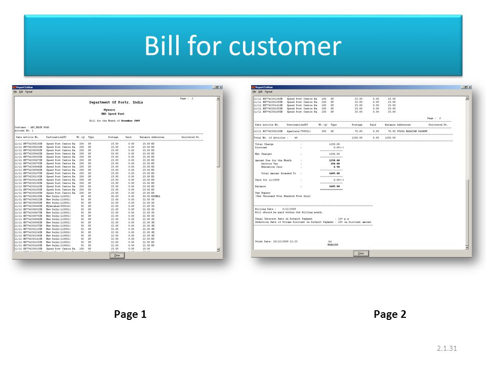 Bill for customer 2.1.31 Page 1Page 2