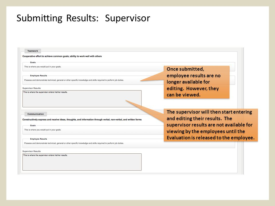 Submitting Results: Supervisor Once submitted, employee results are no longer available for editing.