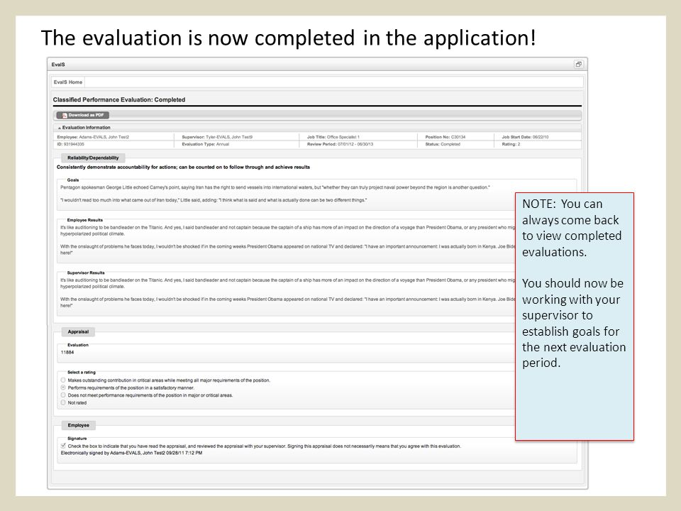 The evaluation is now completed in the application.