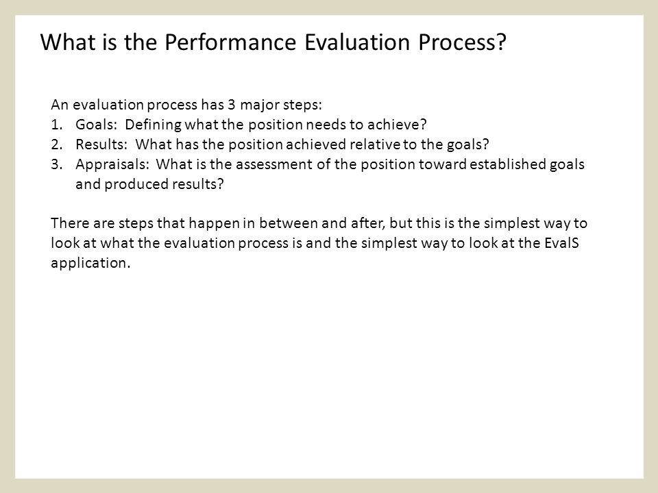 What is the Performance Evaluation Process.
