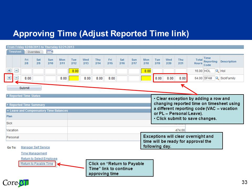 33 Approving Time (Adjust Reported Time link) Clear exception by adding a row and changing reported time on timesheet using a different reporting code (VAC – vacation or PL – Personal Leave).