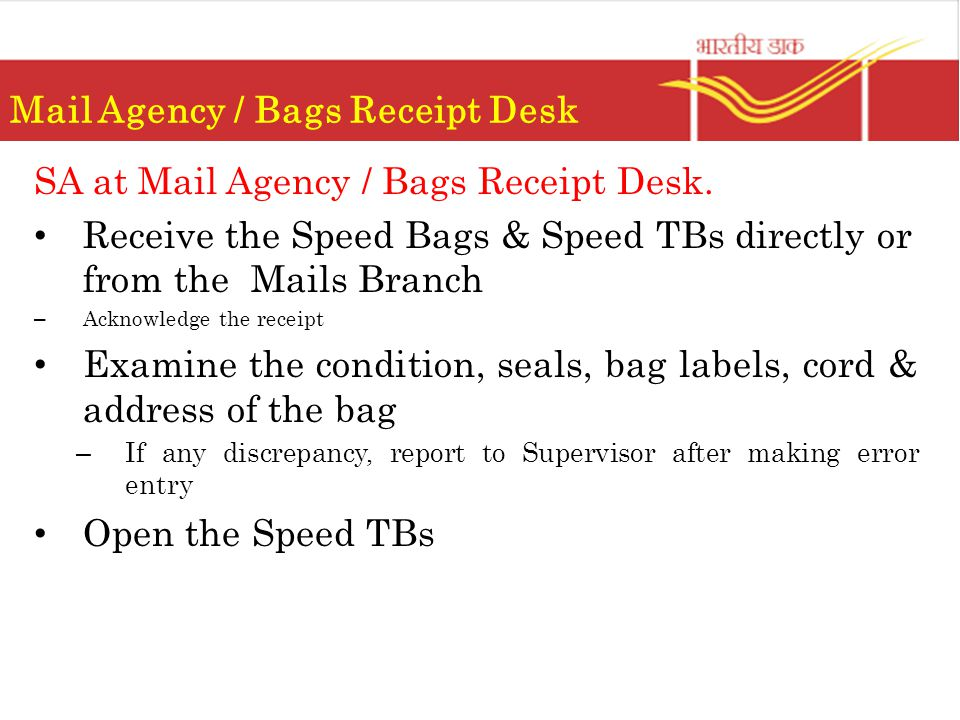 Mail Agency / Bags Receipt Desk SA at Mail Agency / Bags Receipt Desk.