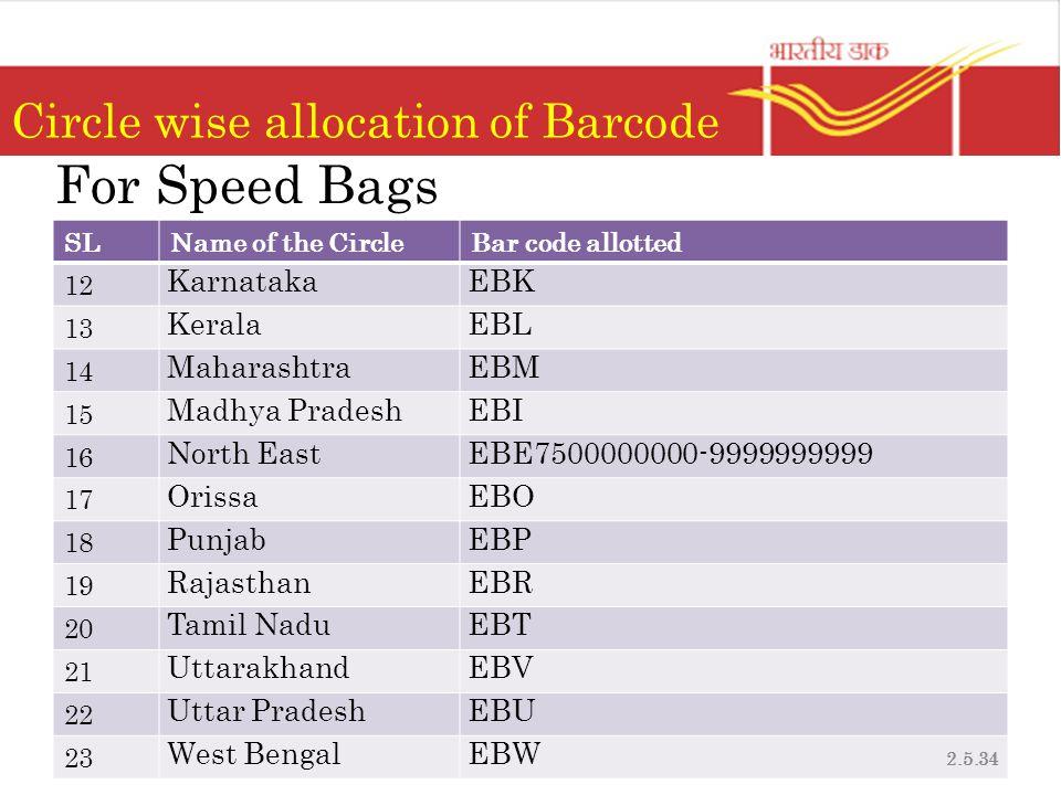 Circle wise allocation of Barcode SLName of the CircleBar code allotted 12 KarnatakaEBK 13 KeralaEBL 14 MaharashtraEBM 15 Madhya PradeshEBI 16 North EastEBE7500000000-9999999999 17 OrissaEBO 18 PunjabEBP 19 RajasthanEBR 20 Tamil NaduEBT 21 UttarakhandEBV 22 Uttar PradeshEBU 23 West BengalEBW For Speed Bags 2.5.34