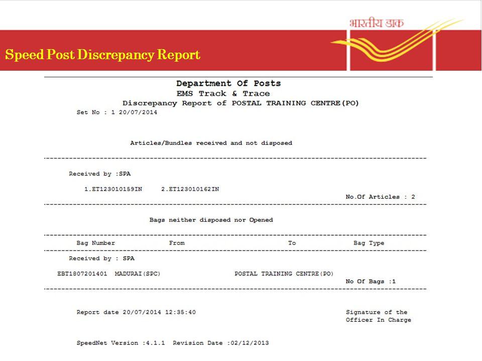Speed Post Discrepancy Report