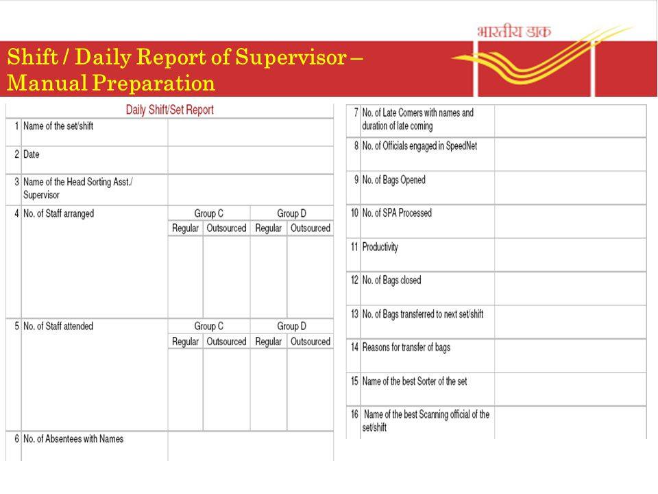 Shift / Daily Report of Supervisor – Manual Preparation