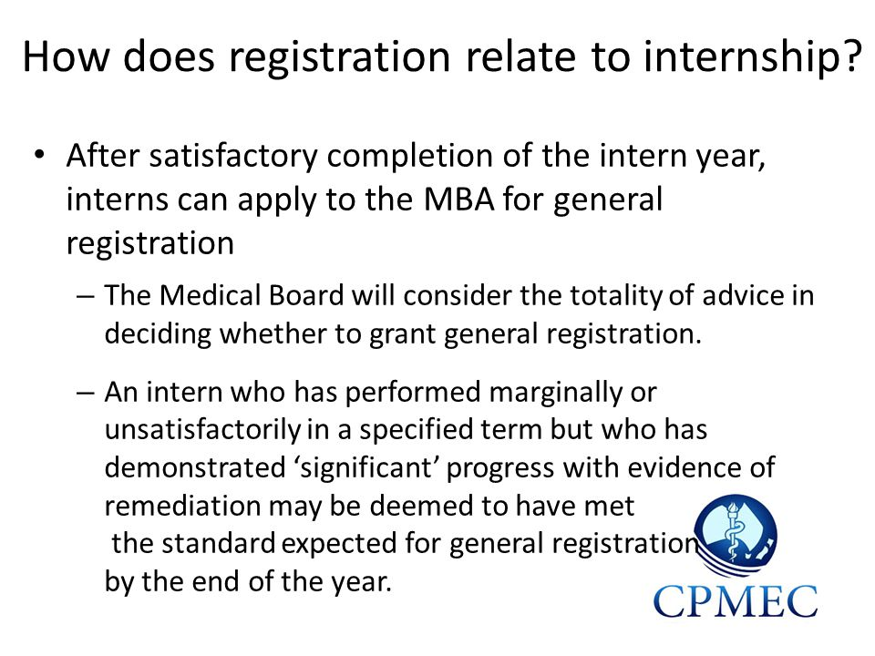How does registration relate to internship.