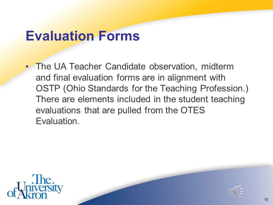 Part 2: Evaluation Forms 14