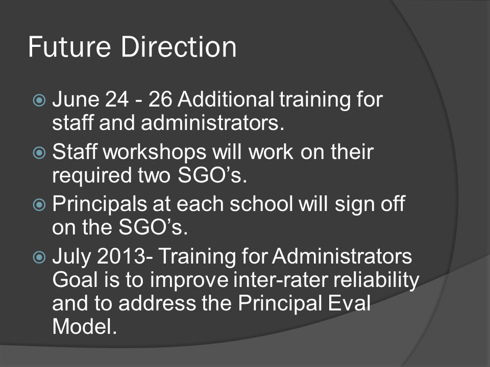 Future Direction  June 24 - 26 Additional training for staff and administrators.