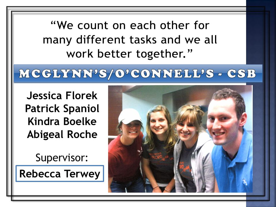 Supervisor: Rebecca Terwey Jessica Florek Patrick Spaniol Kindra Boelke Abigeal Roche