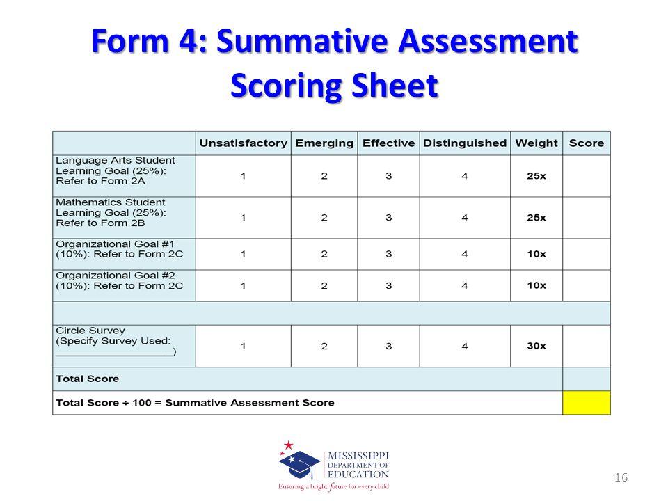 Form 4: Summative Assessment Scoring Sheet 16